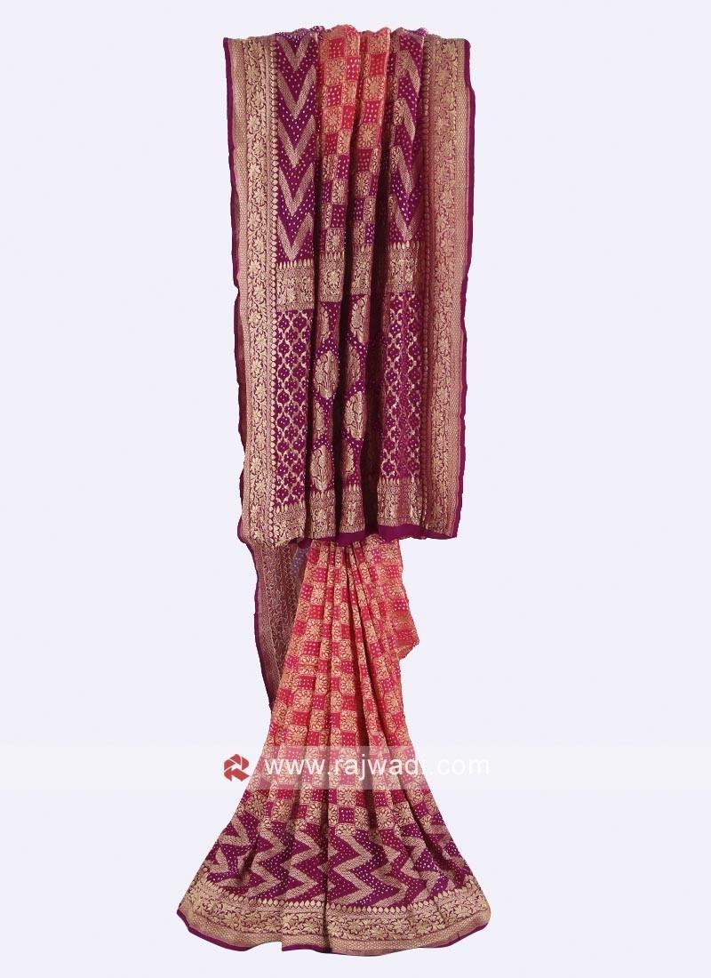 Gajari pink and purple chiffon saree