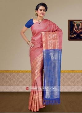 Gajari Pink and Royal Blue Weaved Saree