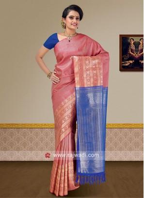 Gajari Pink and Royal Blue Weaved Saree