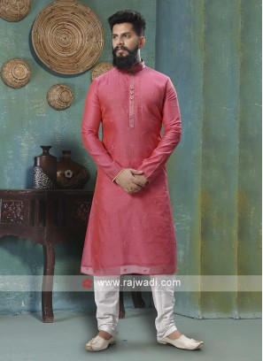 Gajari Pink And White Kurta Pajama