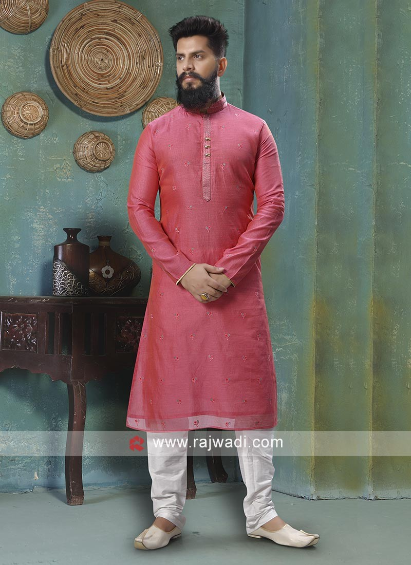 Gajari Pink And White Kurta Pajama
