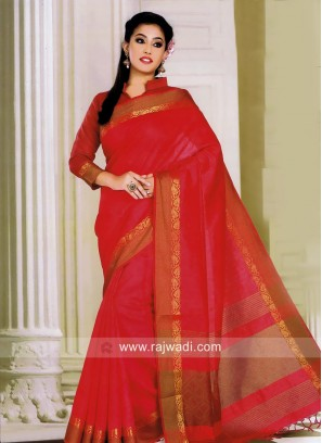 Gajari Pink Art Silk Saree