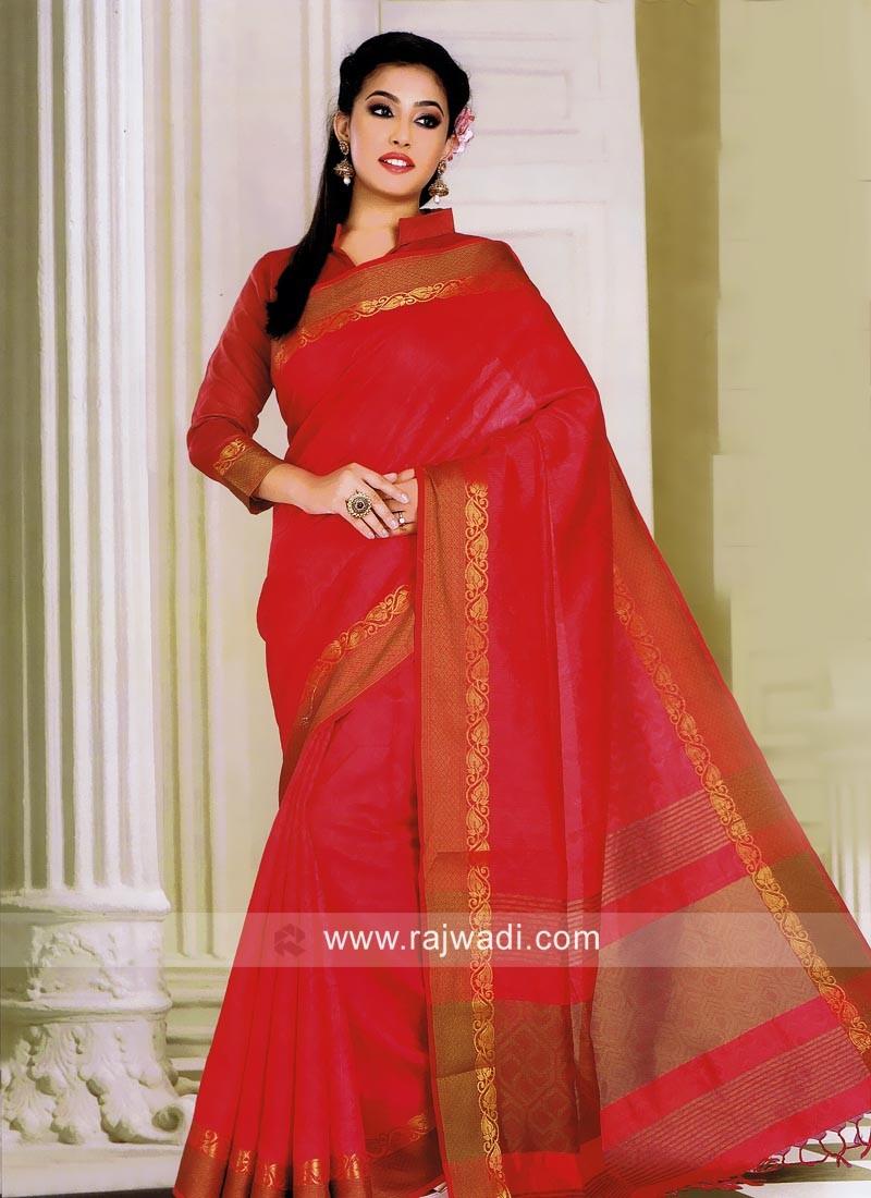 Gajari Pink Art Silk Saree