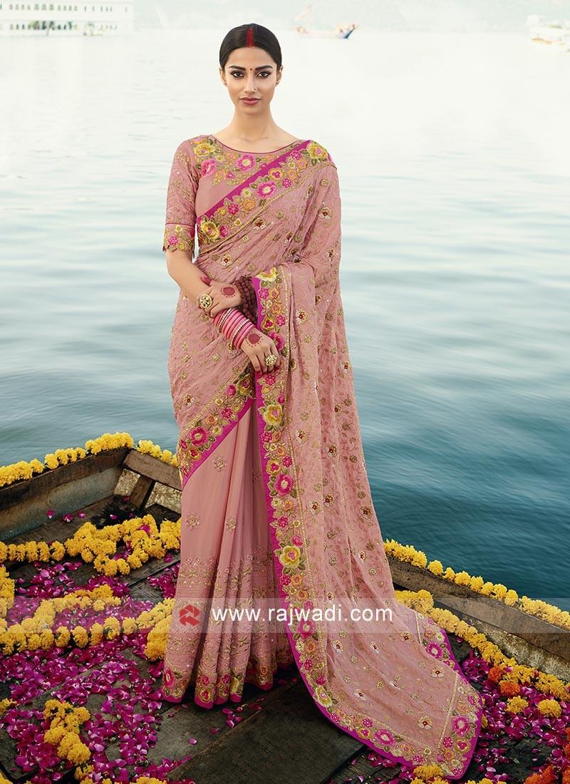 Gajari Pink Chiffon saree with matching blouse.
