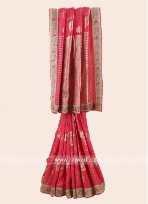 Gajari Pink Banarasi Silk Saree