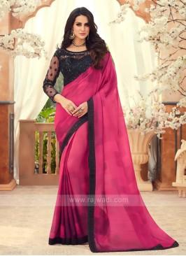 Gajari Pink Chiffon Saree