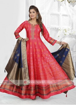 Gajari Pink Color Anarkali Suit with dupatta