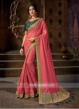 Gajari Pink Color Art Silk Saree