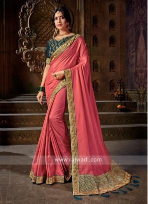 Gajari Pink Color Art Silk Saree
