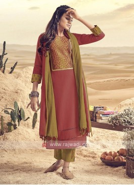 Gajari Pink Cotton Pant Suit