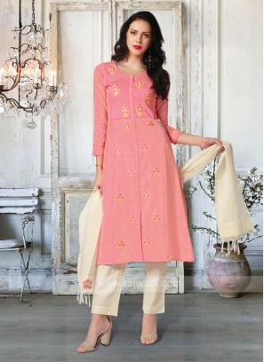 Gajari Pink & Cream Salwar Suit