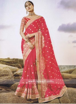 Gajari Pink Designer Saree with Blouse