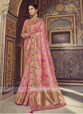 Gajari Pink Dola Silk Saree