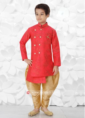Gajari Pink & Golden Indo Western For Boys