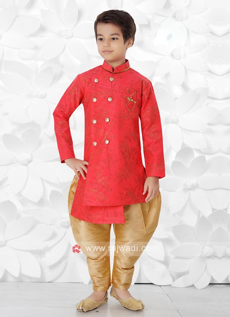 Gajari Pink & Golden Indo Western For Boys