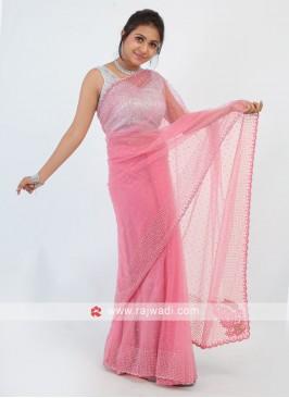 Gajari Pink Net Saree