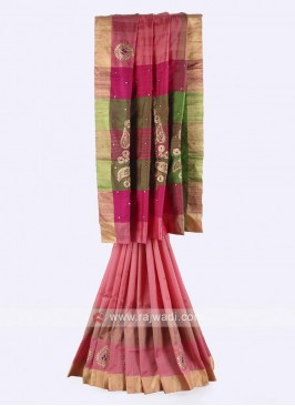 Gajari pink, pink and mehndi green color pure silk saree