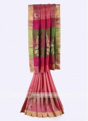 Gajari pink, pink and mehndi green color pure silk saree