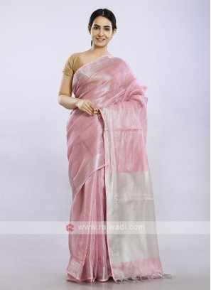 Gajari pink plain casual saree