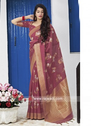 Gajari Pink Silk Saree
