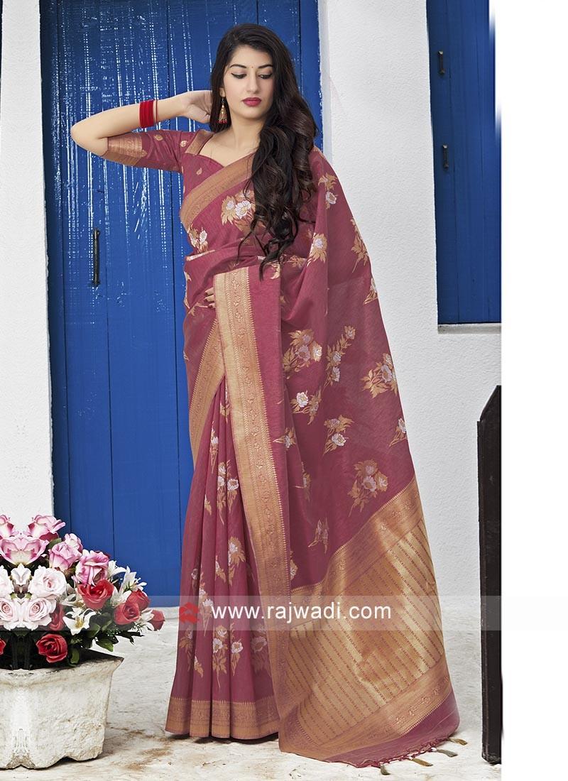 Gajari Pink Silk Saree