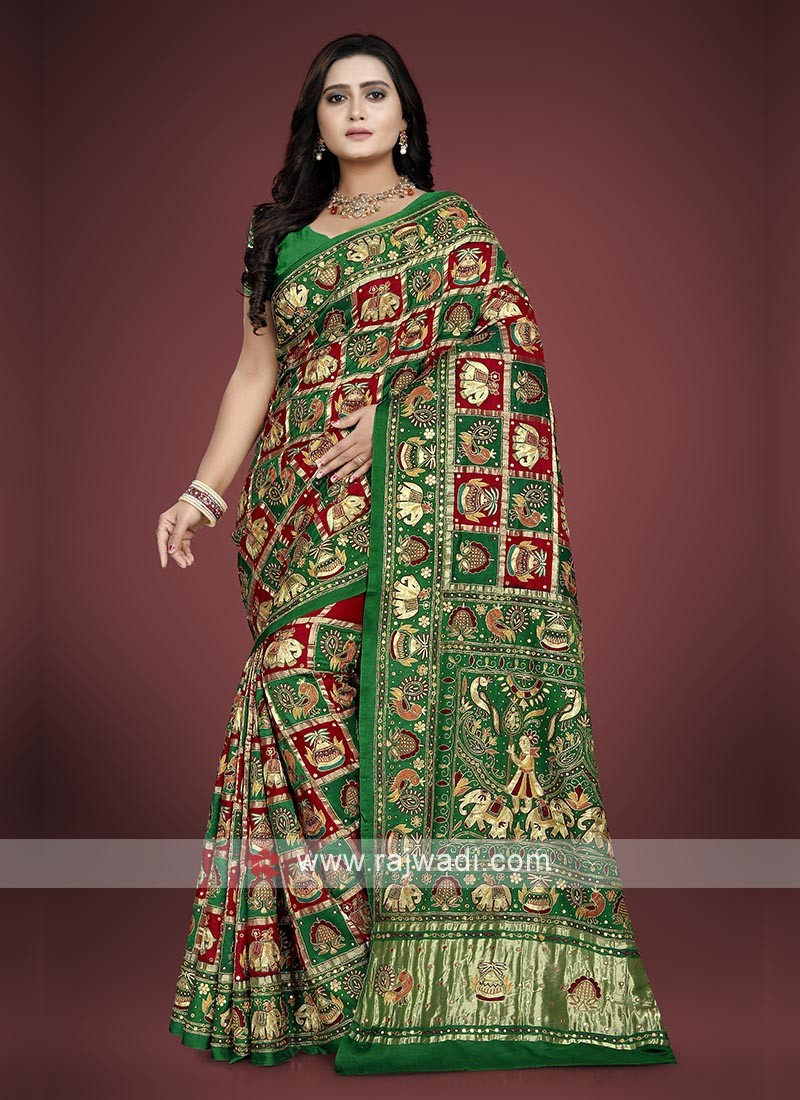 Gajji Silk Gharchola Saree with blouse