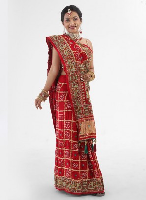 Gajji Silk Maroon Color Heavy Work Gharchola