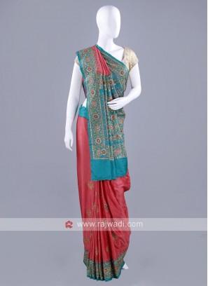 Gajji Silk Mirror and Zari Work Sari