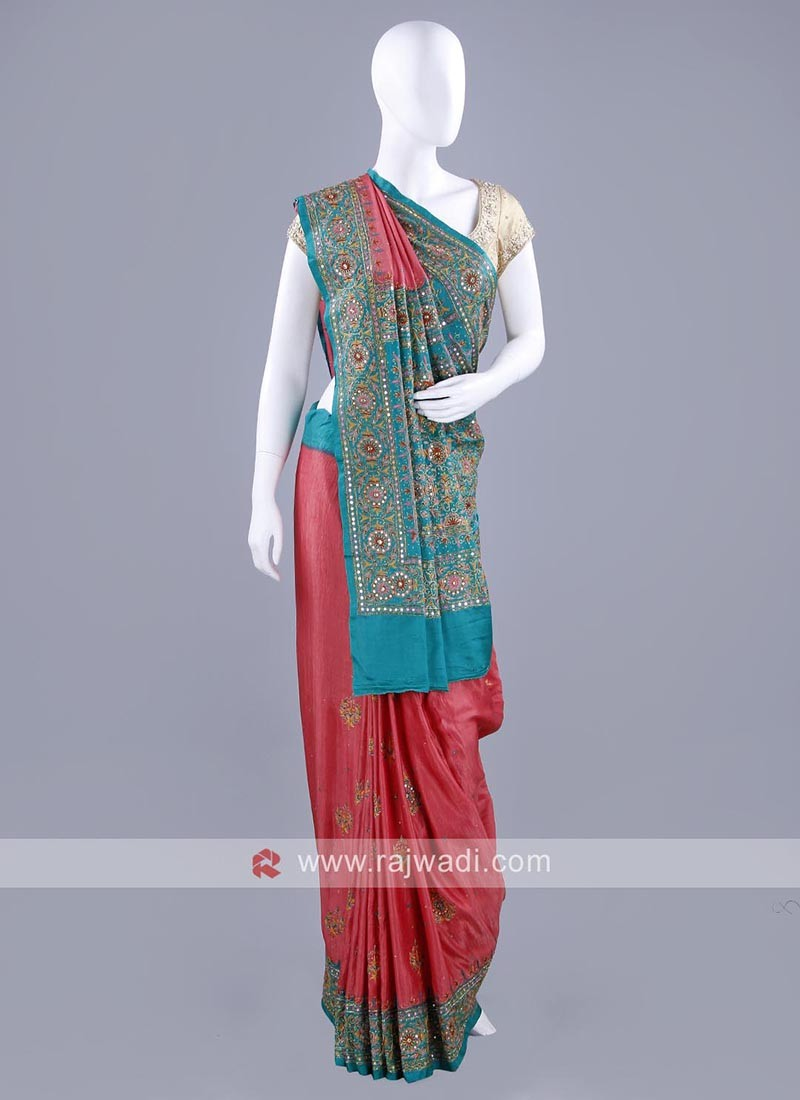 Gajji Silk Mirror and Zari Work Sari