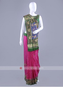 Gajji Silk Pink and Green Saree