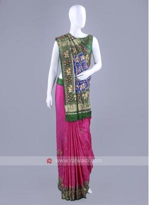 Gajji Silk Pink and Green Saree