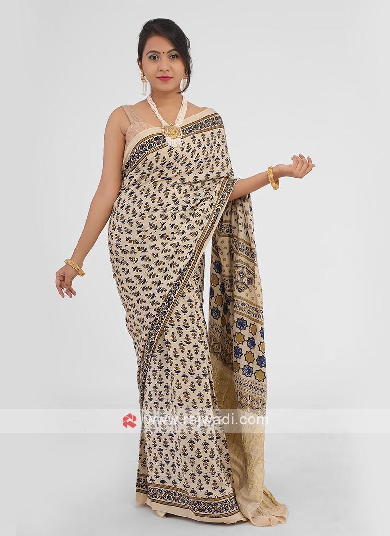 Gajji Silk Printed Saree In Golden Cream