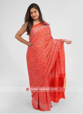 Gajji Silk Printed Saree In Red