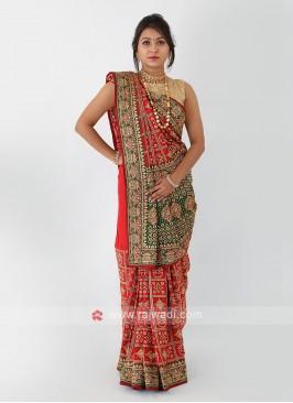 Gajji Silk Red Saree