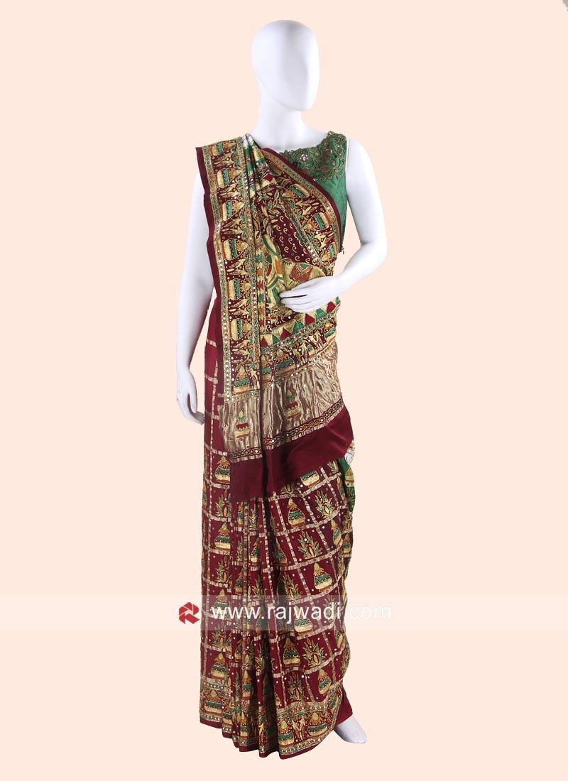 Gajji Silk Wedding Panetar Saree
