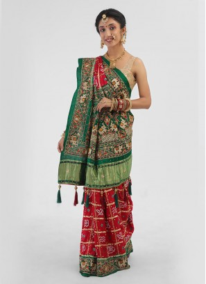 Gajji Silk Wedding Saree For Bride In Green And Maroon Color