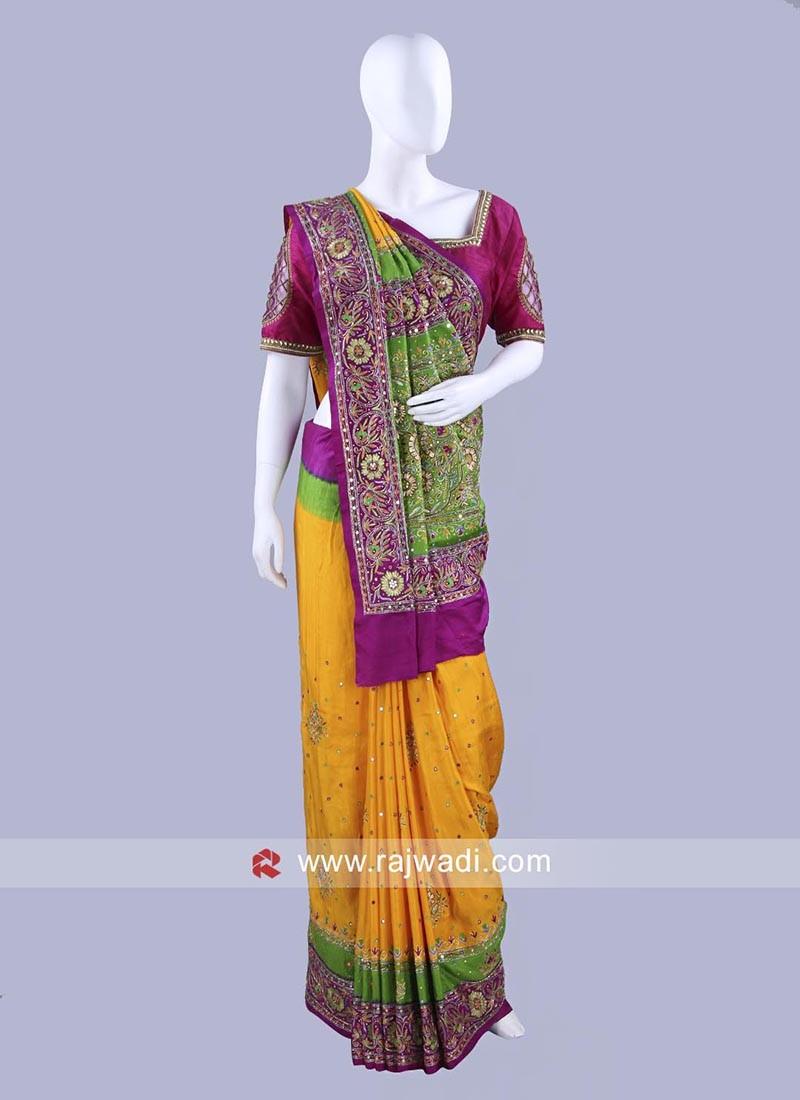 Gajji Silk Wedding Saree with Blouse