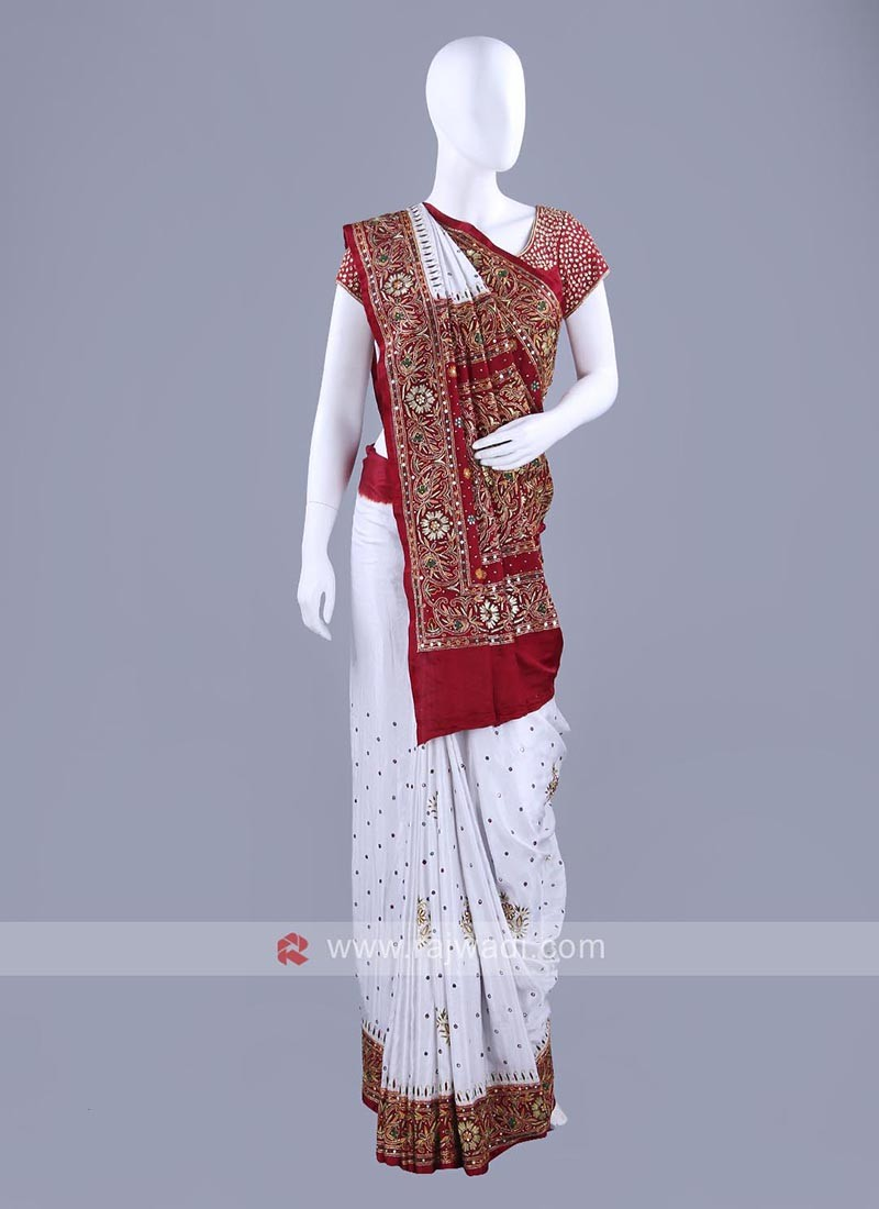 Gajji Silk White and Maroon Patola Sari