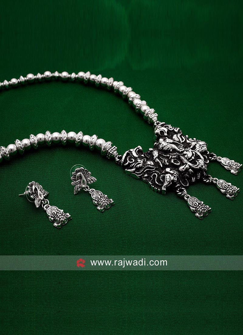 Ganesh Oxidized Silver Necklace with Earrings