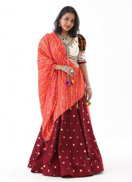 Garba Chaniya Choli In Cream And Maroon Color