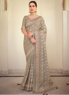 Genius Georgette Satin Grey Resham Traditional Saree