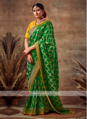 Georgeous Green Color Bandhani Saree