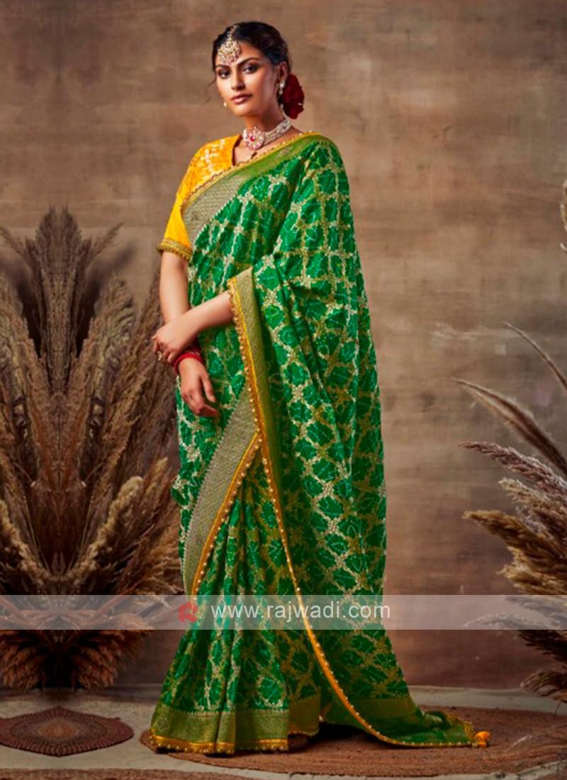 Georgeous Green Color Bandhani Saree