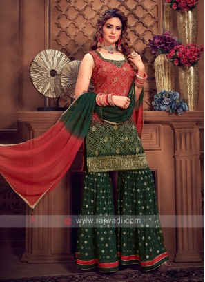 Georgeous Red & Green Color Gharara Suit