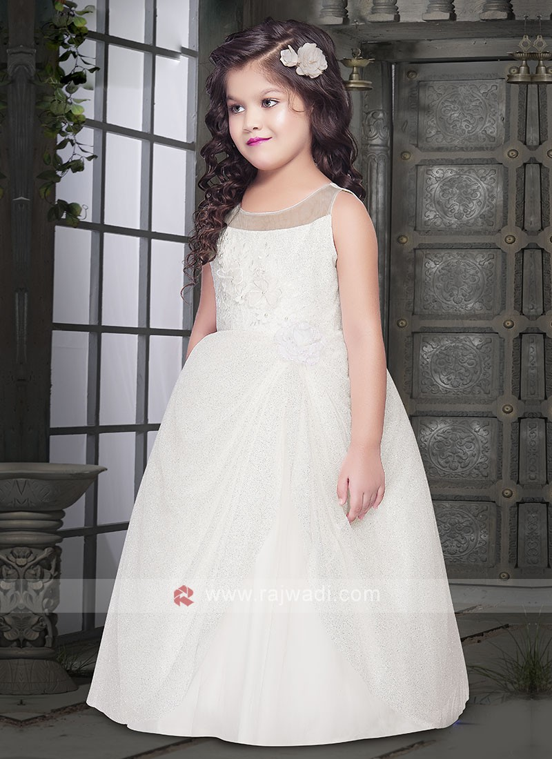 Georgeous White Gown For Girls