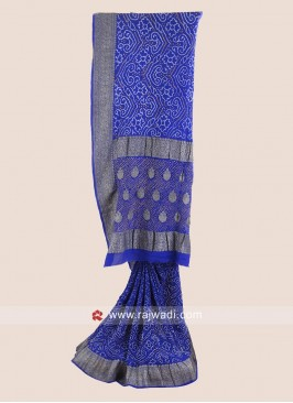 Georgette Chiffon Bandhani Saree in Blue