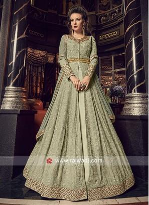 Georgette Chiffon Front Open Slit Salwar Suit