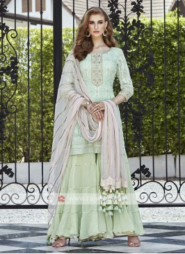 Georgette Chiffon Sea Green Gharara Suit