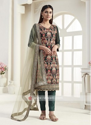 Georgette Dark Green Dress Material