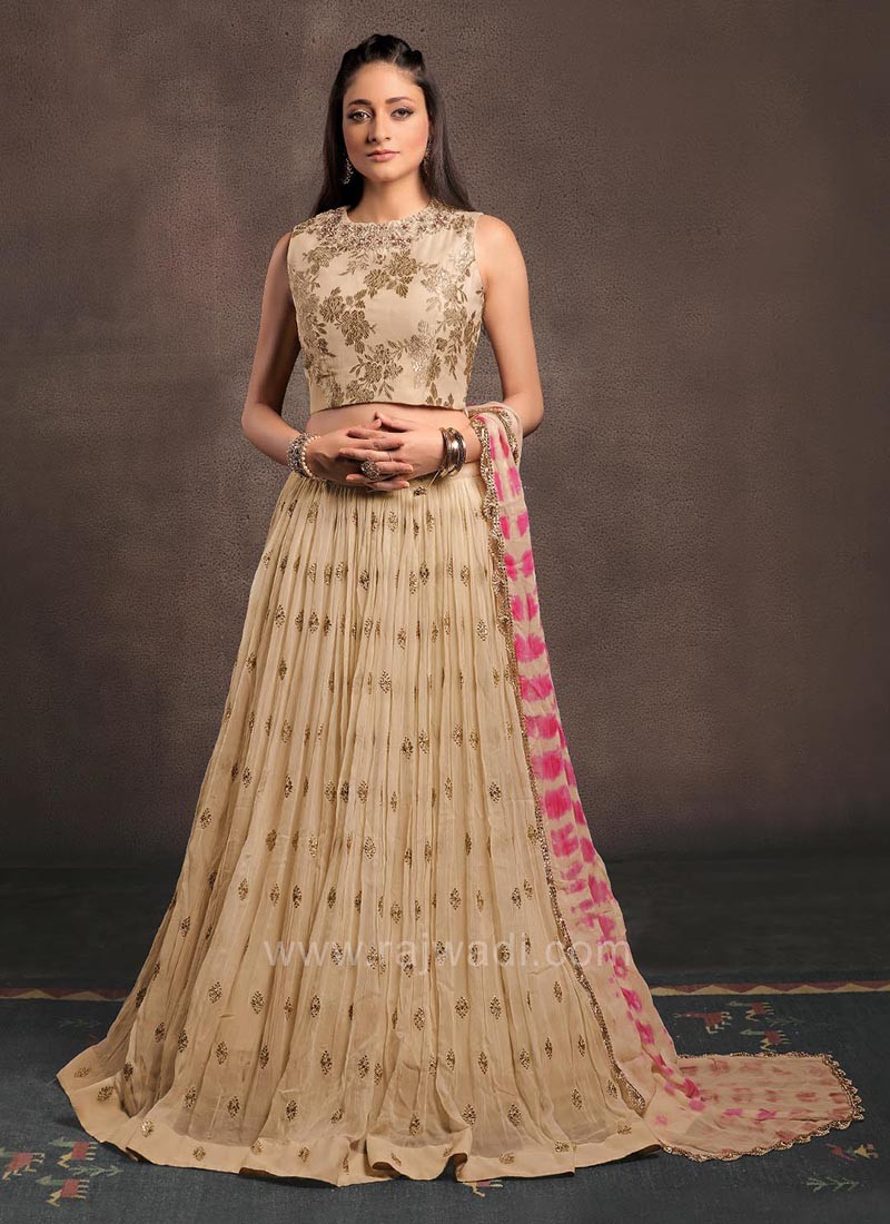 Georgette Embroidered Choli Set with Shaded Dupatta